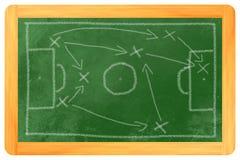 Tiza de las táctica del fútbol en negro Foto de archivo libre de regalías