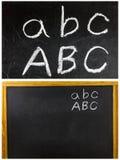 Tiza del ABC de la escuela de la pizarra escrita Imagenes de archivo