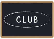 Tiza del club de la palabra escrita en una pizarra ilustración del vector
