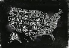 Tiza del vintage de los E.E.U.U. del mapa stock de ilustración