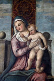 Tiziano Vecellio follower: Madonna and Child on the throne. Exhibited at the Great Masters Renaissance in Croatia in Zagreb, Croatia Stock Photos