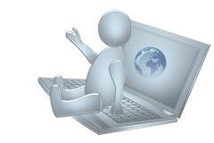 Tizio blu sul computer portatile con terra Immagine Stock Libera da Diritti