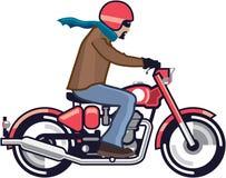 Tizio sul motociclo illustrazione di stock