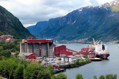 TiZir Titanium and Iron plant in Tyssedal, Norway. Tyssedal, Norway - June 22, 2018: TiZir Titanium and Iron ilmenite upgrading facility, the only one such plant stock photography