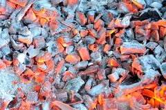 Tizzoni caldi d'ardore immagini stock libere da diritti
