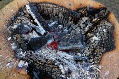 Tizzoni del fuoco di accampamento Fotografia Stock Libera da Diritti