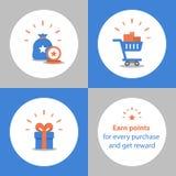 Tjäna punkter för köpet, lojalitetprogrammet, belöningbegreppet, full shoppingvagn, friköpa gåvan stock illustrationer