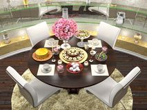 Tjäna som en rund äta middag tabell för fyra personer Royaltyfria Bilder