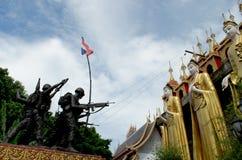 Tjäna som soldat för att skydda den thai nationen och religionen Arkivbilder
