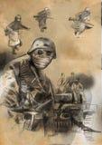 Tjäna som soldat i maskeringen - handen dragen illustration Royaltyfri Fotografi