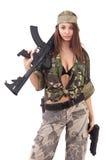 tjäna som soldat kvinnabarn Royaltyfri Fotografi
