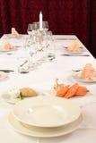 Tjänad som restaurangtabell för en lunch Fotografering för Bildbyråer