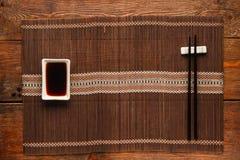 Tjänad som tabell, japansk matbakgrund, lekmanna- lägenhet Royaltyfria Foton