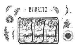 Tj?nat som i pappers- mexikansk buritoupps?ttning vektor illustrationer