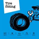 Tjänste- begrepp för bil Illustration i vektor Trötta montering, bilservice, gummihjulservice, bilreparationen etc. Vektor för kl vektor illustrationer