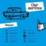 Tjänste- begrepp för bil Rengöringsdukbanret med plats framlägger arbetare i bilservice, gummihjulservice, bilreparationen etc. K vektor illustrationer