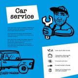 Tjänste- begrepp för bil Rengöringsdukbanret med plats framlägger arbetare i bilservice, gummihjulservice, bilreparationen etc. K stock illustrationer
