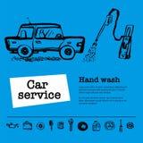 Tjänste- begrepp för bil Rengöringsdukbanret med plats framlägger arbetare i bilservice, hand tvättar sig, gummihjulservice, bilr vektor illustrationer