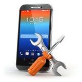 Tjänste- begrepp för mobil Smarthone med hjälpmedel Arkivbilder