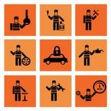 Tjänste- bilmekaniker Repair Icons för automatisk Arkivfoto