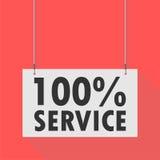 100% tjänste- hängande tecken Arkivfoton