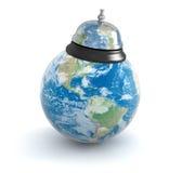Tjänste- klocka och jordklot Arkivbilder