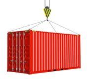 Tjänste- leverans - röd lastbehållare som hissas av kroken arkivfoto