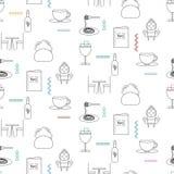 Tjänste- linje sömlös modell för kafeteria för symbol stock illustrationer