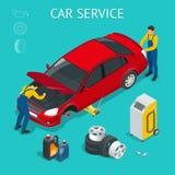 Tjänste- mitt för bil Process för bilservicearbete som är isometrisk med arbetare som reparerar och testar bilen och de olika hjä stock illustrationer