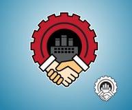 Tjänste- symbol handskakningtecken och industriellt Vektor Illustrationer