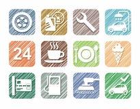 Tjänste- symboler för bil, bil, färgblyertspenna, skuggning, simulering, vektor stock illustrationer