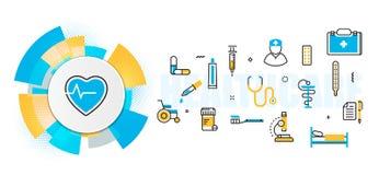 Tjänste- titelradbaner för medicin och för sjukvård i cirkelbeståndsdel royaltyfri illustrationer