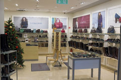 TJ Collection luxury  shoes store. VILNIUS, LITHUANIA - DECEMBER 21: TJ Collection luxury shoes and clothing accessories store in Xmas Panorama market on Stock Image