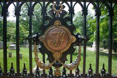 TJ symbol for Thomas Jefferson in The Monticello Graveyard, Monticello,  Charlottesville, Virginia Stock Image