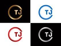 TJ-Textgoldschwarze silberne moderne kreative Alphabetbuchstabelogoentwurfs-Vektorikone lizenzfreie abbildung