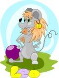 Tjalla flickan med symbol av Lejonet stock illustrationer