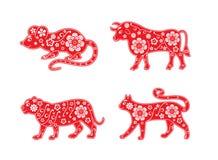 Tjalla oxen, tigern, katt Symboler av det kinesiska horoskopet 2020, 2021 år blom- prydnad stock illustrationer