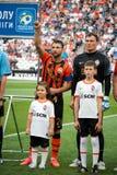 Tjalla Razvan och Pyatov Andriy av fotbollklubban Shakhtar Donetsk Fotografering för Bildbyråer