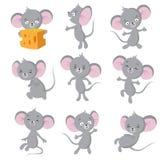 tjaller den roliga musen för bakgrundstecknad film vektorwhite Gråa möss i olikt poserar Gulligt löst tjaller djura vektortecken vektor illustrationer