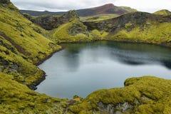 Tjarnargigur crater lake stock photo