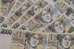 Tjecken krönar valuta Arkivfoto