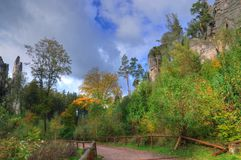 Tjeckien Bohemia, bohemiskt paradis /Cesky raj/för geopark Arkivfoton
