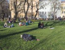 Tjeckien Prague, April 10, 2018: sova mannen och grupp människor som kopplar av på frodigt grönt gräs och att tycka om den tidiga Arkivfoto
