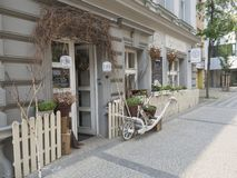 Tjeckien Prague, Karlin, Maj 11, 2018: blomsterhandlaren shoppar windo Arkivfoton