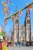 TJECKIEN PRAGUE - MARS 18, 2016: berömd easter marknad på Arkivbild