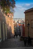 TJECKIEN PRAGUE - OKTOBER 02, 2017: Utseendet av en underbar europeisk stad Prague gammal stadfyrkant och Arkivfoto