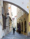 TJECKIEN PRAGUE - OKTOBER 02, 2017: Utseendet av en underbar europeisk stad Prague gammal stadfyrkant och Arkivbilder