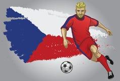 Tjeckienfotbollspelare med flaggan som en bakgrund Arkivbilder