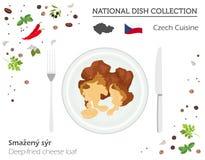 Tjeckisk kokkonst Europeisk nationell maträttsamling Friterad che stock illustrationer