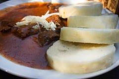 Tjeckisk mat: Traditionell gulasch med knedle arkivbilder